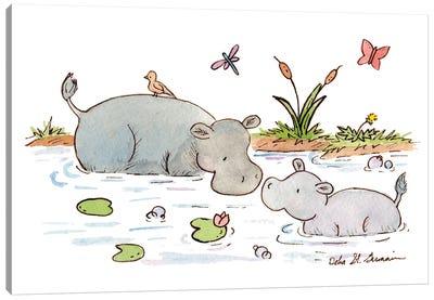 Happy Hippos Canvas Art Print