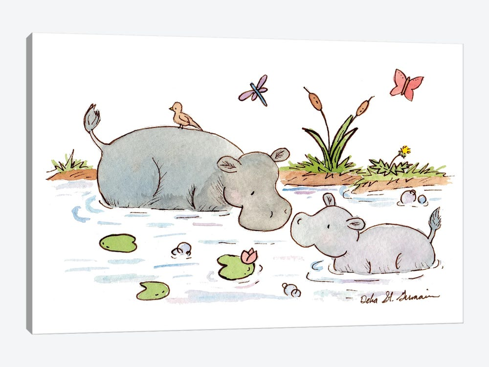Happy Hippos by Jasper And Ruby 1-piece Canvas Art Print