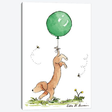 Carried Away: Dachshund with Green Balloon Canvas Print #JSY16} by Jasper And Ruby Canvas Art