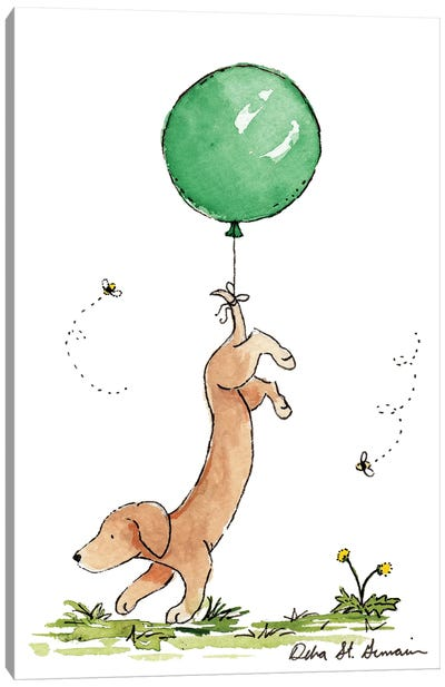 Carried Away: Dachshund with Green Balloon Canvas Art Print