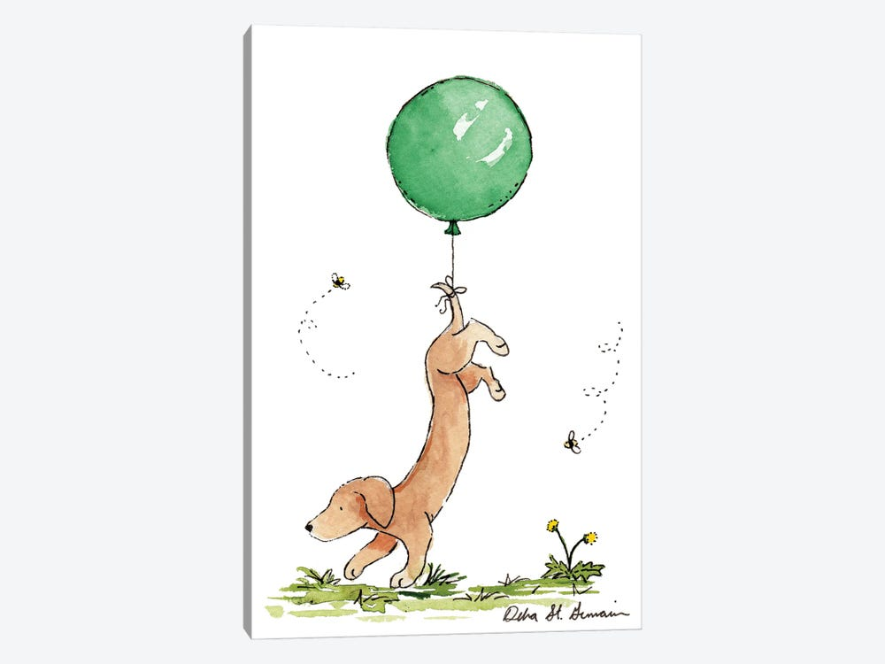 Carried Away: Dachshund with Green Balloon by Jasper And Ruby 1-piece Canvas Art Print