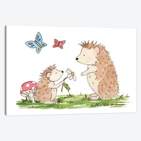 Woodland Hedgehogs Canvas Print #JSY18} by Jasper And Ruby Canvas Art Print
