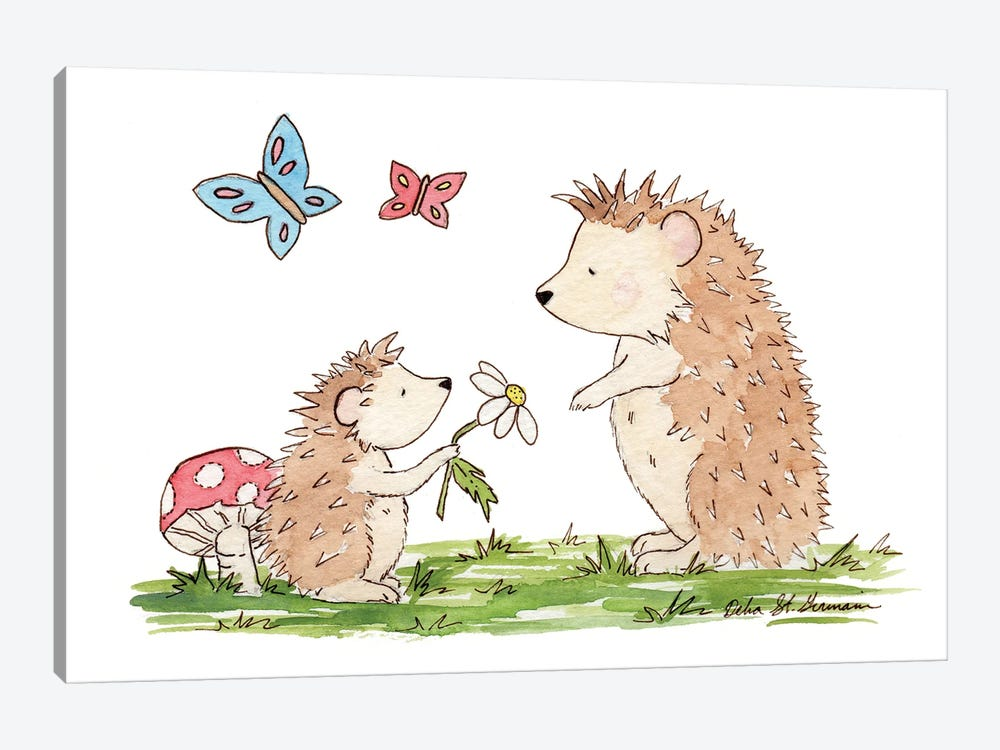 Woodland Hedgehogs by Jasper And Ruby 1-piece Canvas Print