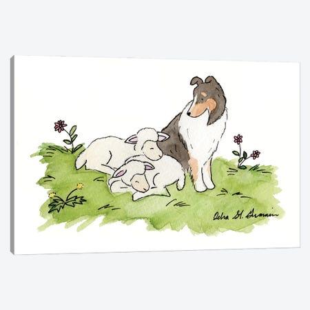 Babysitting: Tri Color Shetland Sheepdog Canvas Print #JSY21} by Jasper And Ruby Canvas Art