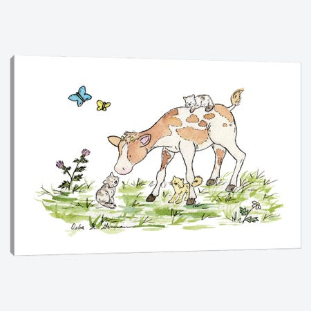 Cow And Cats Canvas Print #JSY22} by Jasper And Ruby Canvas Artwork