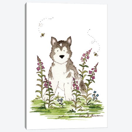 Husky And Fireweed Canvas Print #JSY24} by Jasper And Ruby Art Print