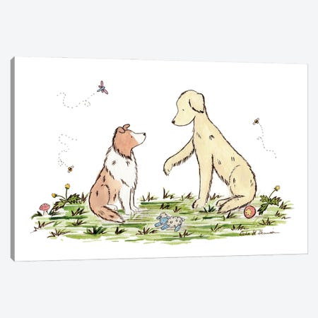 Play With Me: Shetland Sheepdog And Golden Retriever Canvas Print #JSY25} by Jasper And Ruby Canvas Print