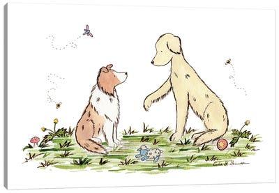 Play With Me: Shetland Sheepdog And Golden Retriever Canvas Art Print