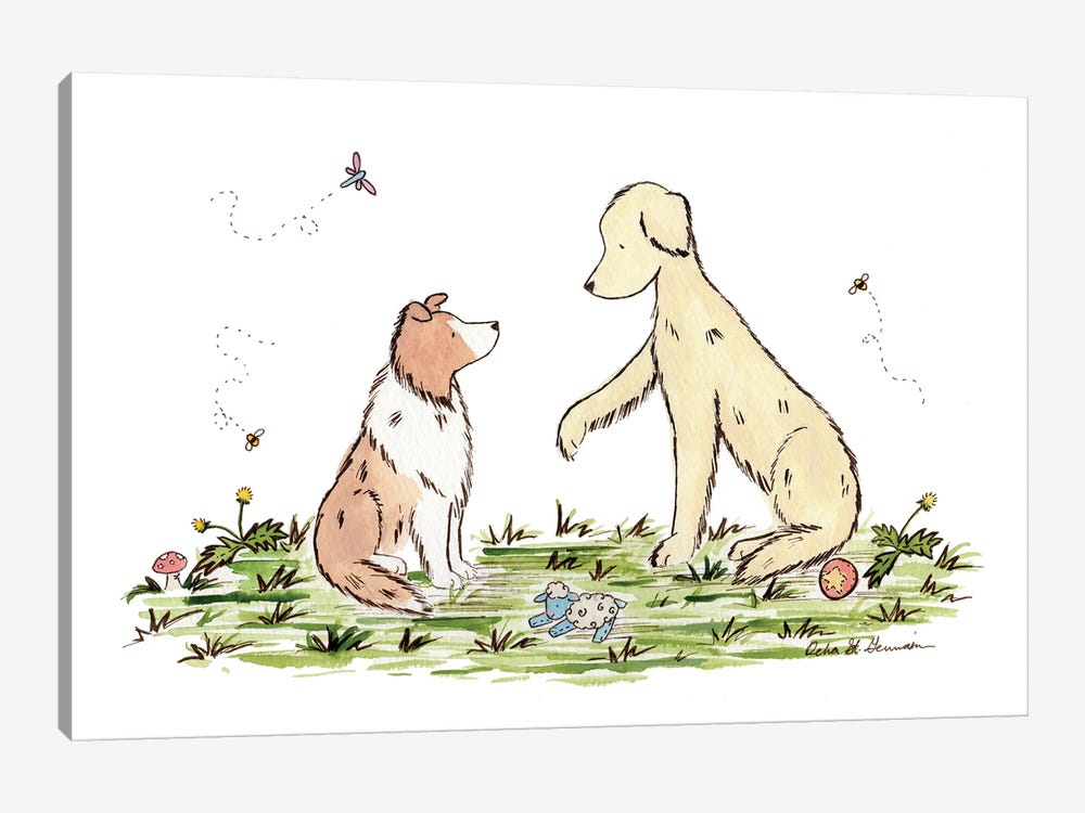 Play With Me: Shetland Sheepdog And Golden Retriever by Jasper And Ruby 1-piece Art Print