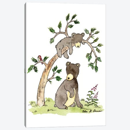 Hide And Seek Black Bears Canvas Print #JSY26} by Jasper And Ruby Canvas Print