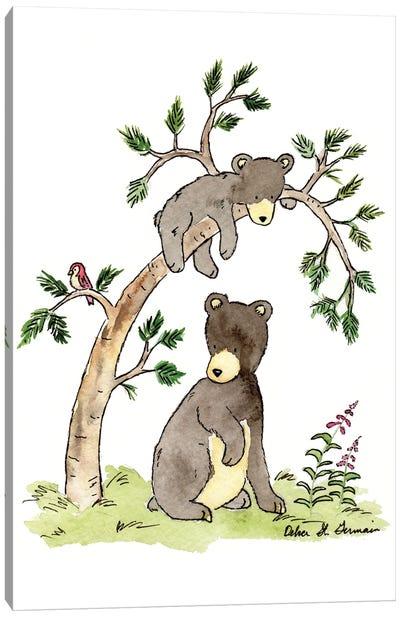 Hide And Seek Black Bears Canvas Art Print