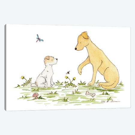 Play With Me: Jack Russell And Labrador Canvas Print #JSY27} by Jasper And Ruby Canvas Art Print