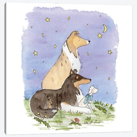 Star Gazing Collies Canvas Print #JSY28} by Jasper And Ruby Canvas Artwork