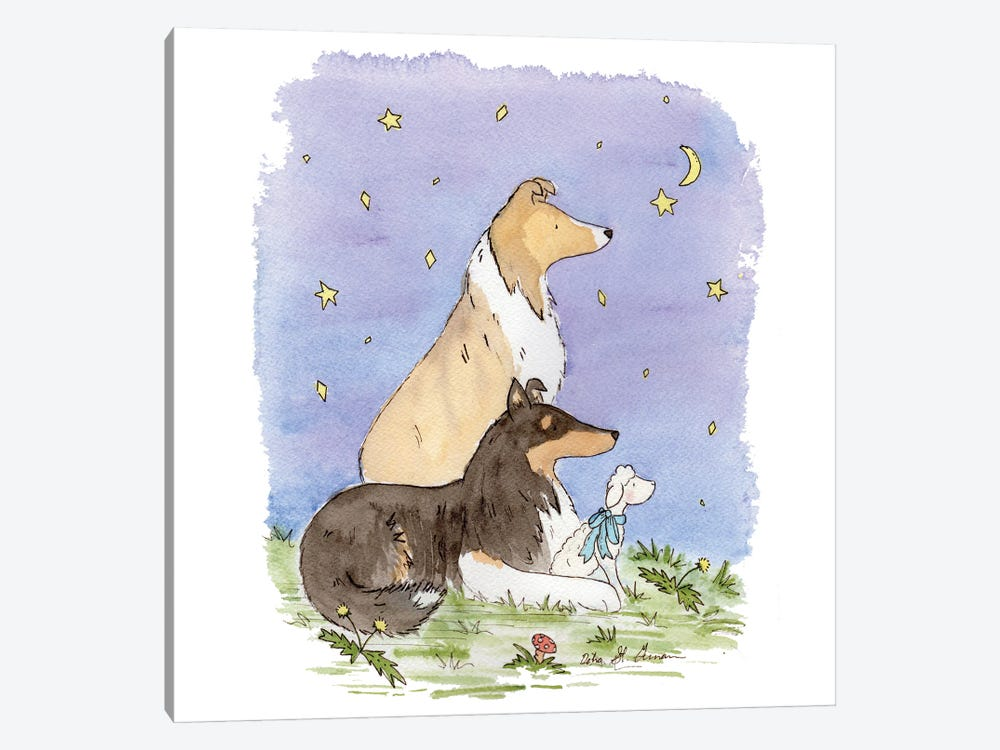 Star Gazing Collies by Jasper And Ruby 1-piece Canvas Artwork