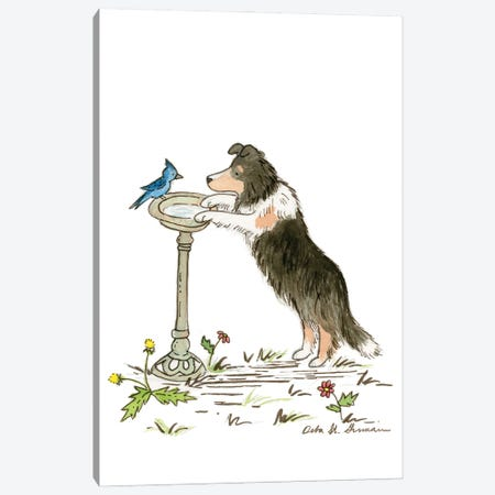 Japer Meets The Blue Jay Canvas Print #JSY2} by Jasper And Ruby Canvas Artwork