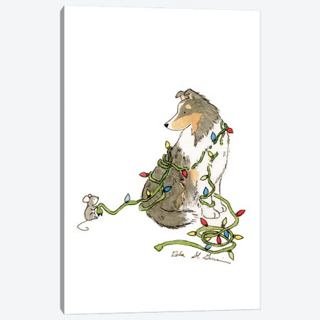 Christmas Sheltie Canvas Print #JSY30} by Jasper And Ruby Art Print