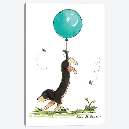 Carried Away: Black And Tan Dachshund with Turquoise Balloon Canvas Print #JSY31} by Jasper And Ruby Canvas Print