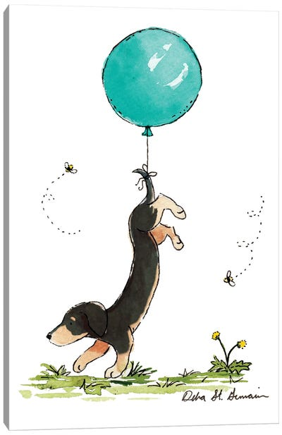 Carried Away: Black And Tan Dachshund with Turquoise Balloon Canvas Art Print