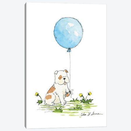 Bulldog's Blue Balloon Canvas Print #JSY32} by Jasper And Ruby Canvas Print