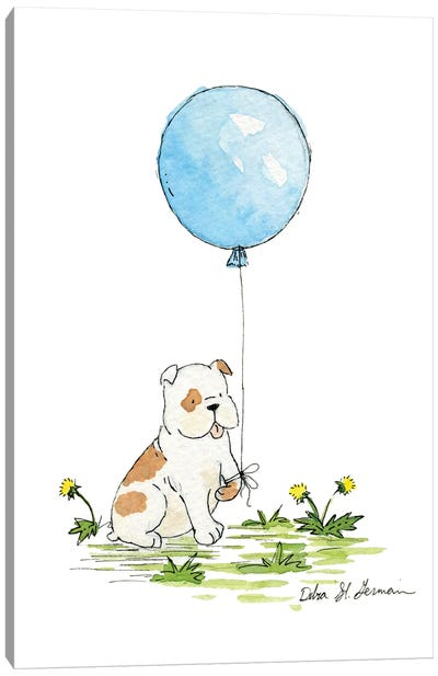 Bulldog's Blue Balloon Canvas Art Print