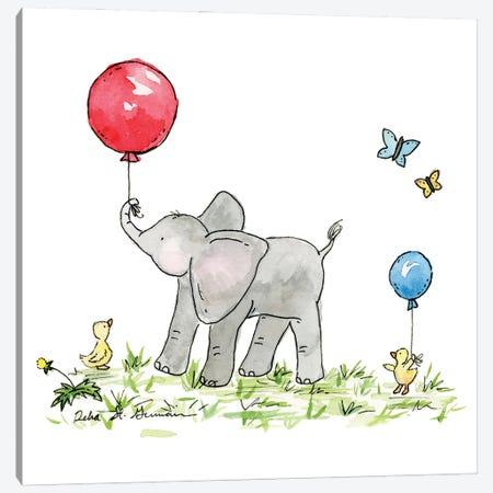 Ellie's Red Balloon Canvas Print #JSY33} by Jasper And Ruby Canvas Art Print