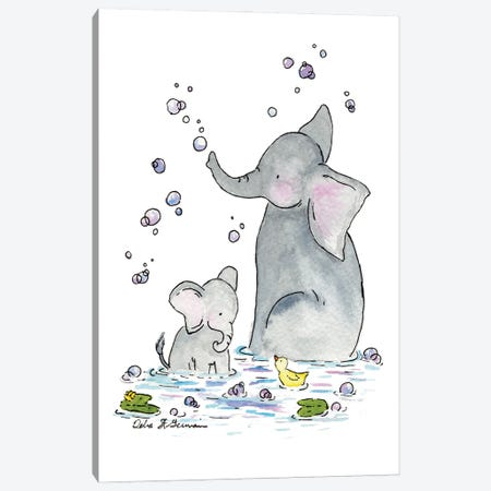 Bath Time for Ellie Canvas Print #JSY34} by Jasper And Ruby Canvas Wall Art