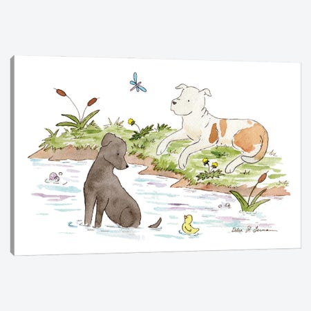 By The Pond: Black Lab And Pit Bull Canvas Print #JSY35} by Jasper And Ruby Canvas Wall Art