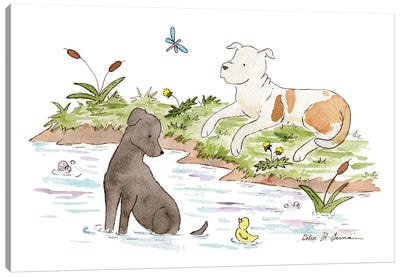 By The Pond: Black Lab And Pit Bull Canvas Art Print