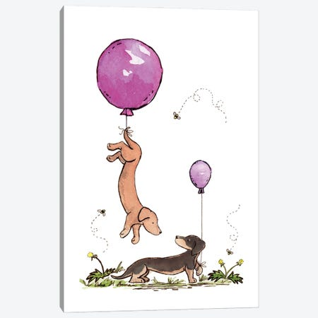 Carried Away Again: Purple Balloons Canvas Print #JSY36} by Jasper And Ruby Canvas Artwork