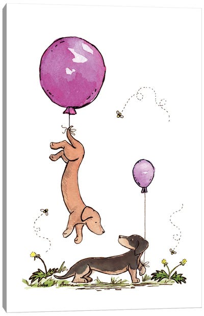 Carried Away Again: Purple Balloons Canvas Art Print
