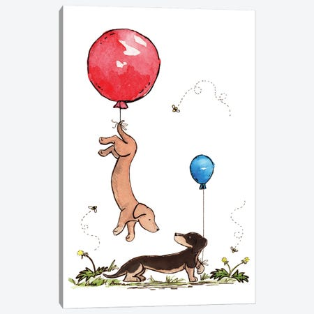 Carried Away Again Red And Blue Balloons Canvas Print #JSY37} by Jasper And Ruby Canvas Artwork