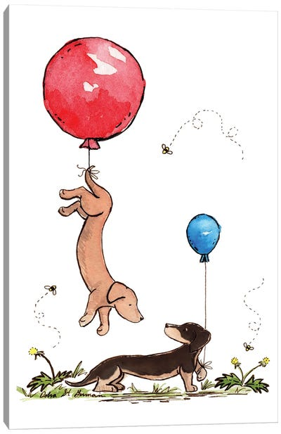 Carried Away Again Red And Blue Balloons Canvas Art Print