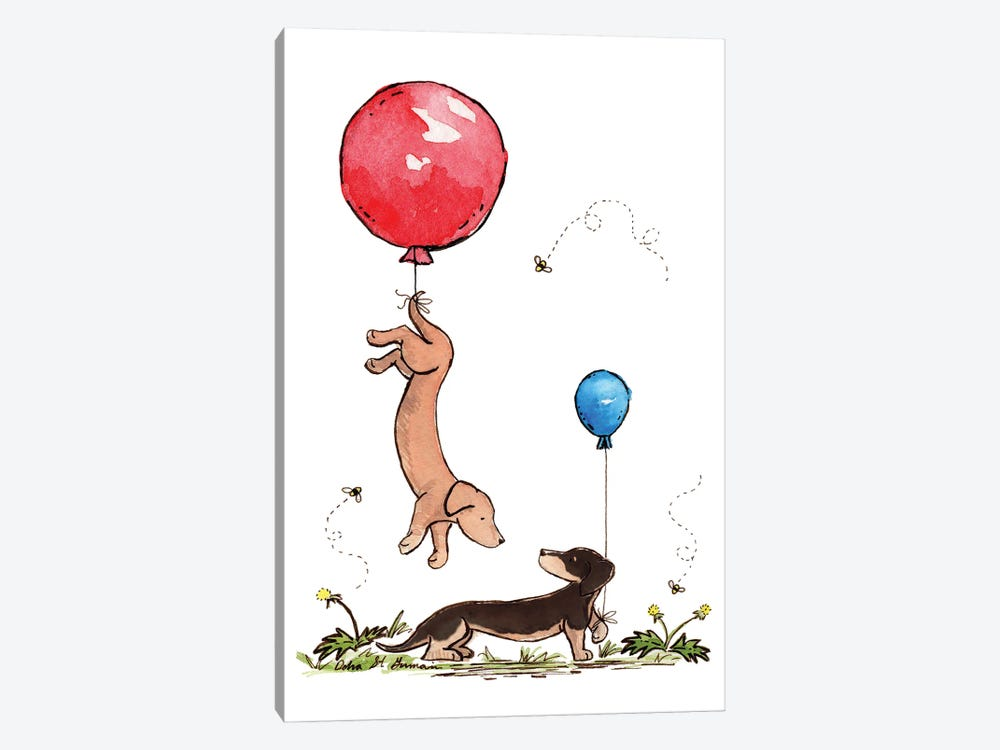 Carried Away Again Red And Blue Balloons by Jasper And Ruby 1-piece Canvas Artwork