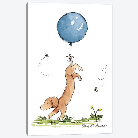 Carried Away: Dachshund with Blue Balloon Canvas Print #JSY38} by Jasper And Ruby Canvas Art Print