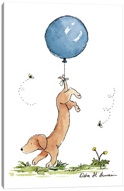 Carried Away: Dachshund with Blue Balloon Canvas Art Print