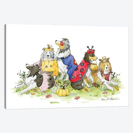 Trick or Treat!: Halloween Shelties Canvas Print #JSY3} by Jasper And Ruby Canvas Artwork