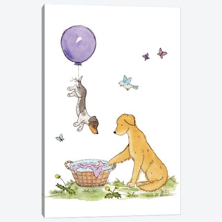 Welcome Baby: Purple Balloon Canvas Print #JSY40} by Jasper And Ruby Canvas Art