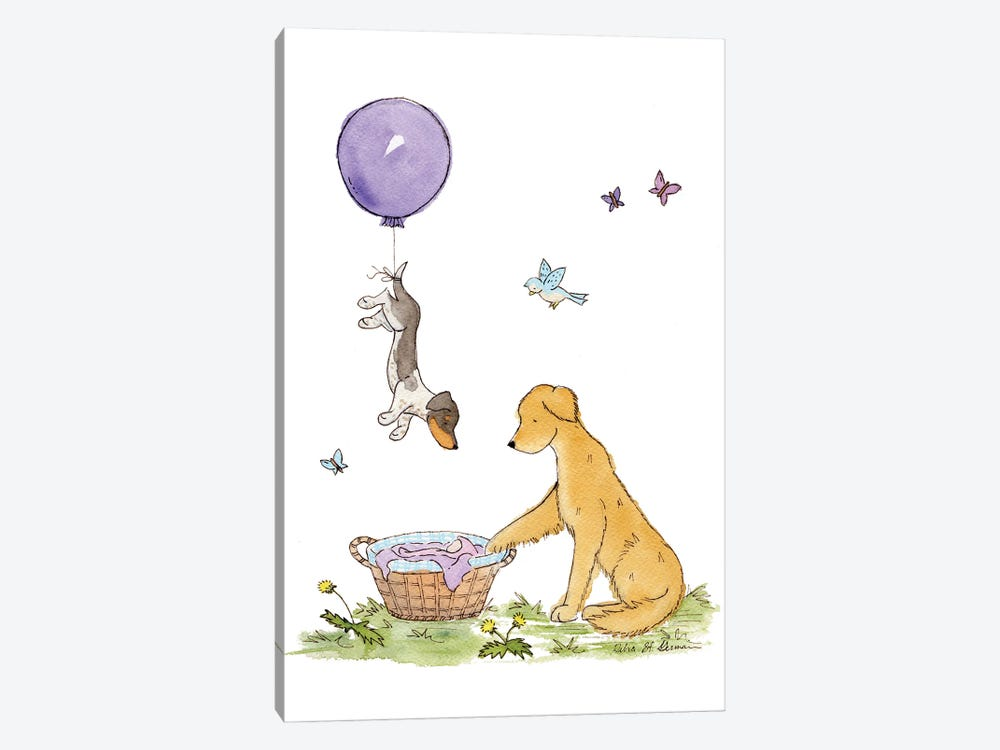 Welcome Baby: Purple Balloon by Jasper And Ruby 1-piece Canvas Wall Art