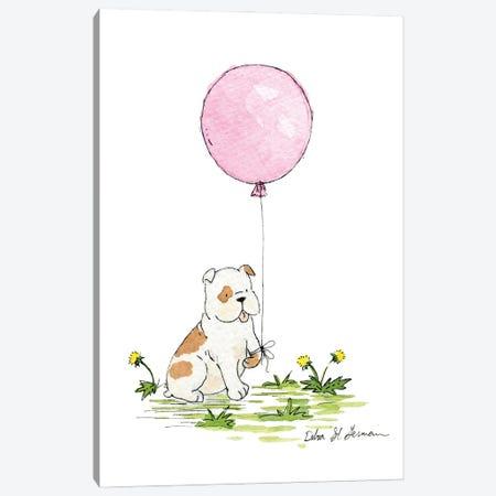 Bulldog's Pink Balloon Canvas Print #JSY41} by Jasper And Ruby Canvas Art