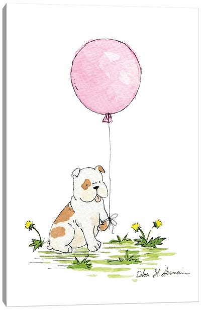 Bulldog's Pink Balloon Canvas Art Print