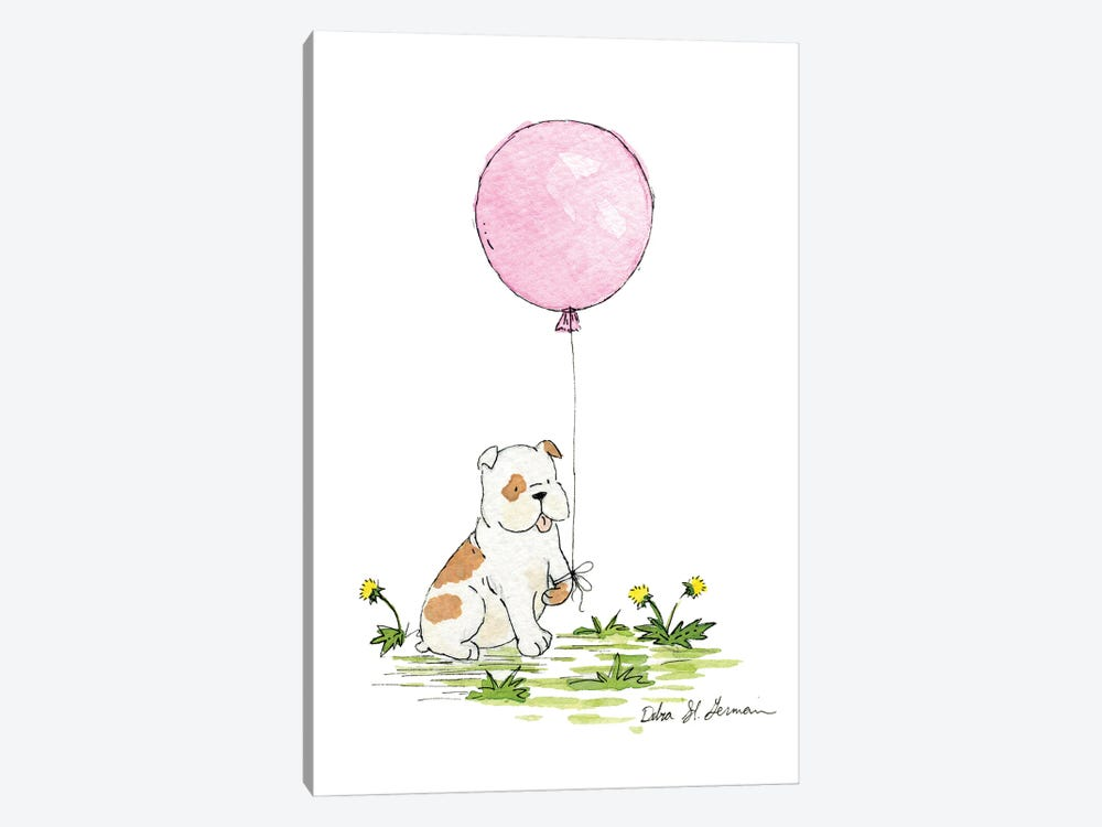 Bulldog's Pink Balloon by Jasper And Ruby 1-piece Canvas Print