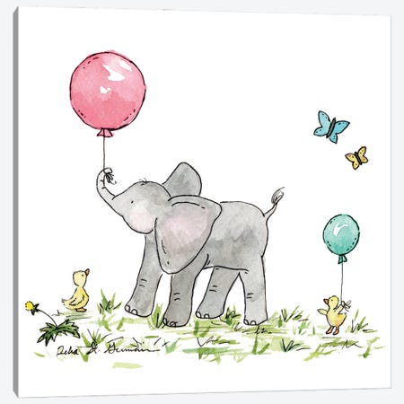 Ellie's New Balloon: Coral And Mint Canvas Print #JSY43} by Jasper And Ruby Canvas Art