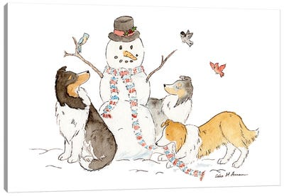 Shelties With Snowman Canvas Art Print