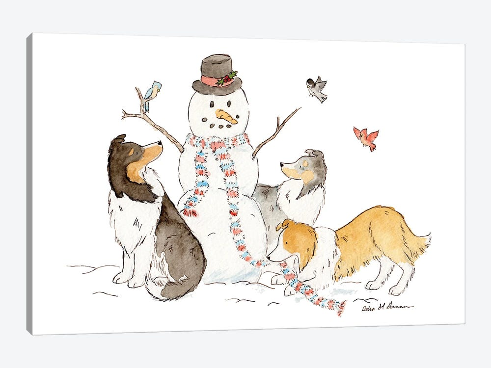 Shelties With Snowman by Jasper And Ruby 1-piece Canvas Artwork