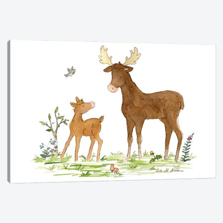 Little Moose And Papa Canvas Print #JSY50} by Jasper And Ruby Canvas Art Print
