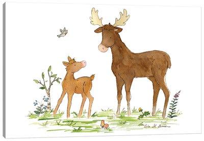 Little Moose And Papa Canvas Art Print