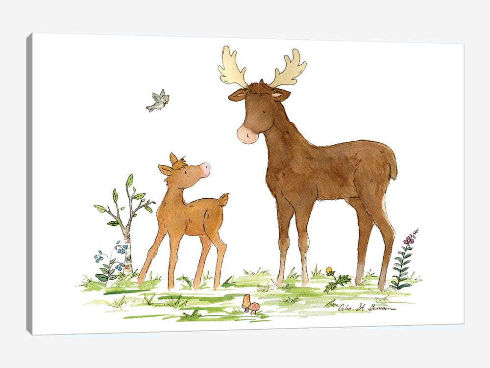 Little Moose And Papa by Jasper And Ruby 1-piece Canvas Art Print