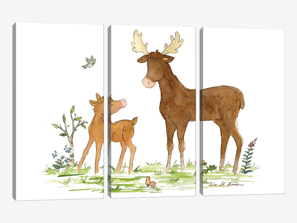 Little Moose And Papa by Jasper And Ruby 3-piece Canvas Print