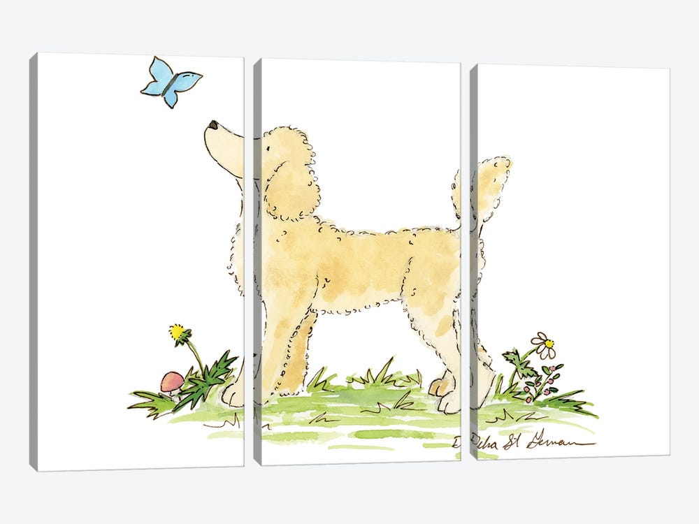 Apricot Poodle by Jasper And Ruby 3-piece Canvas Artwork