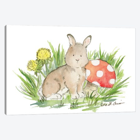 Bunny with Mushroom Canvas Print #JSY53} by Jasper And Ruby Canvas Print